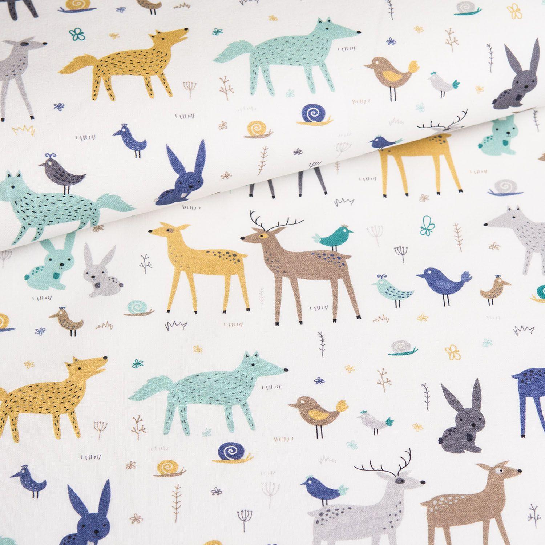 látka-bavlna-premium-lesné-zvieratká-na-ecru-podklade