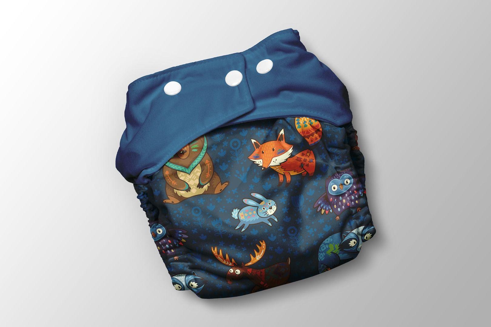 panel-na-pul-nohavičky-aztécke-zvieratká-na-tmavomodrom