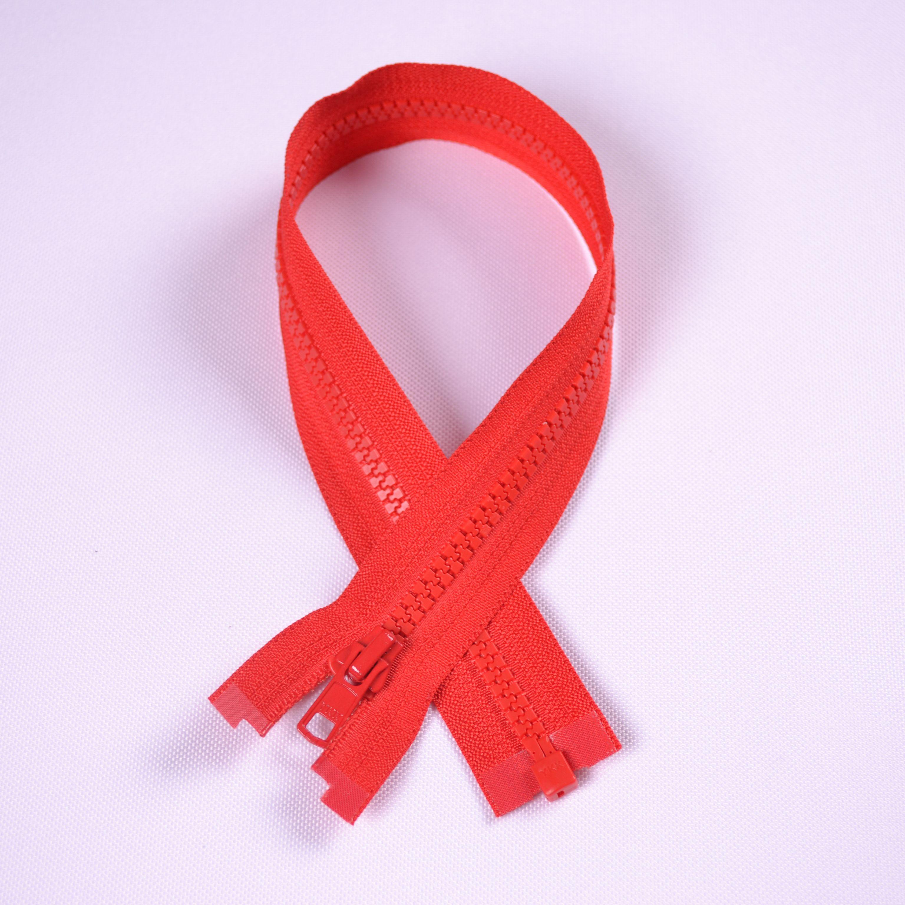 zips-ykk-kostený-deliteľný-5-mm---červená-55-cm