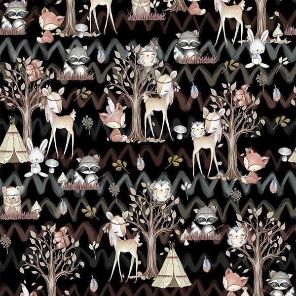 látka-s-potlačou-nepremokavý-polyester-td/ns-forest/les-čierny