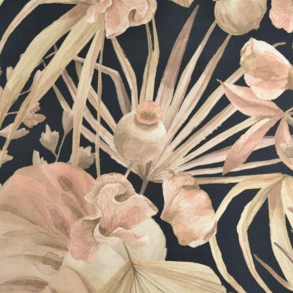 látka-100%-viskózové-plátno-oasis---zlaté-listy-čierna--veľký-vzor