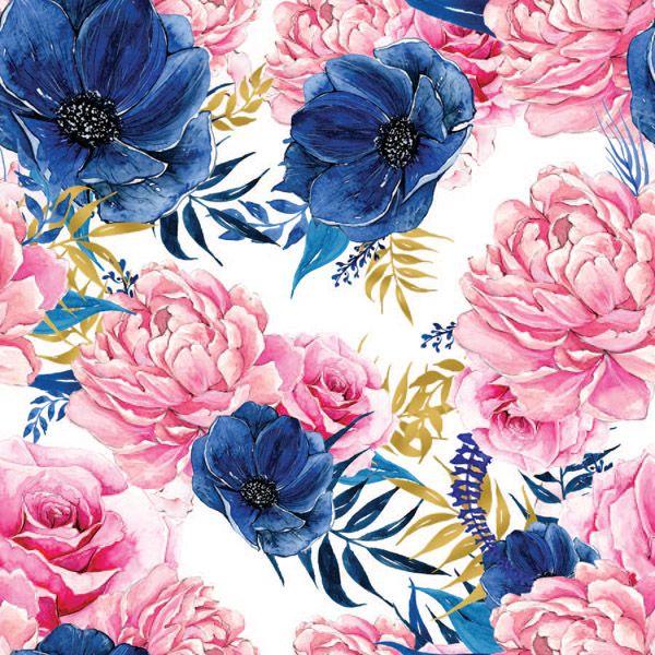 látka-na-plavky,-fitness-oblečenie-ružovo-modré-kvety
