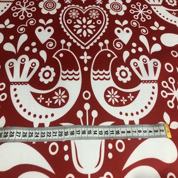 látka-s-potlačou-nepremokavý-polyester-td/ns-vtáčiky-biele-na-červenom