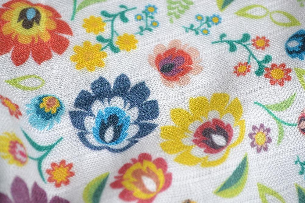 plienkový-bambusový-mušelín-folk-flowers-white