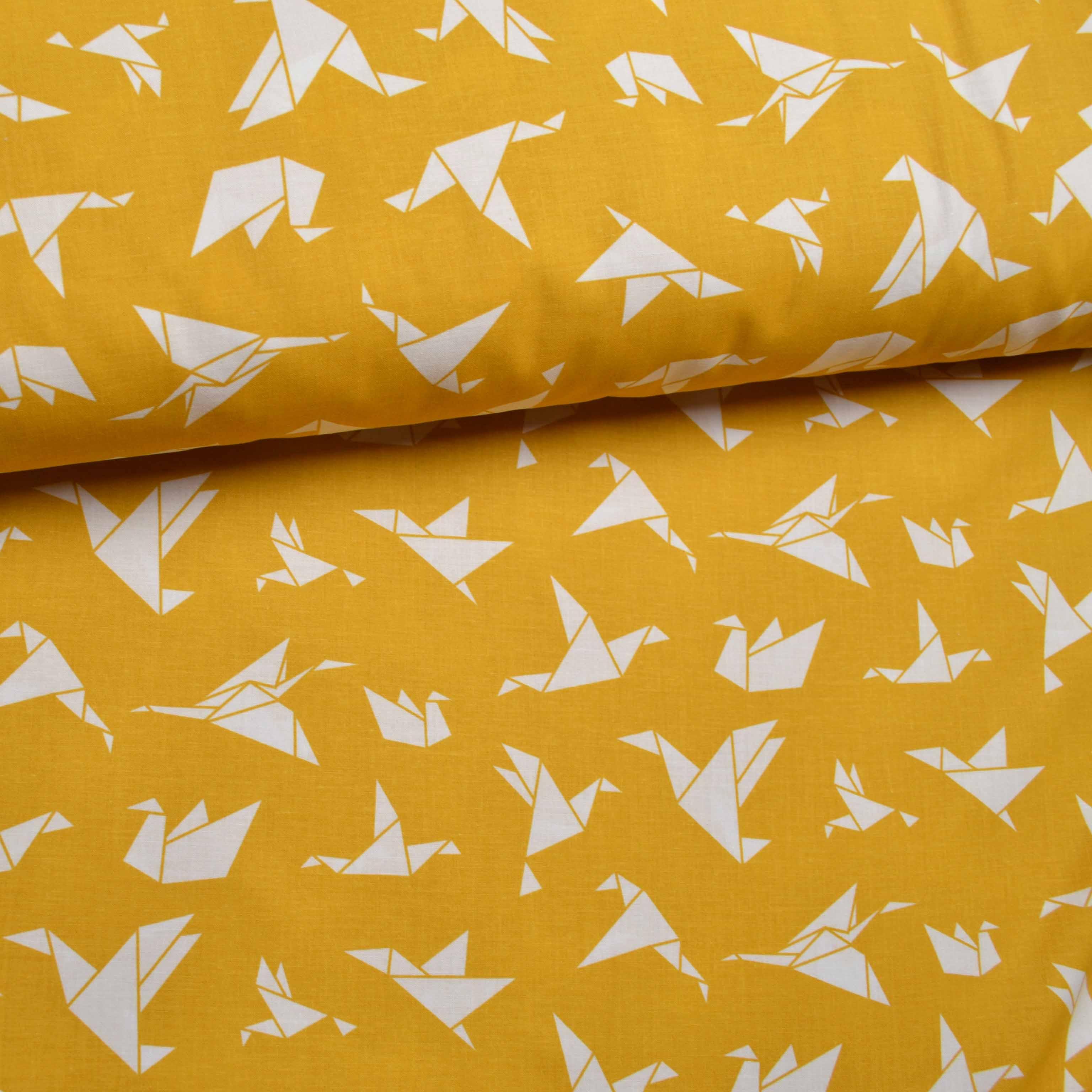látka-bavlna-origami-horčica