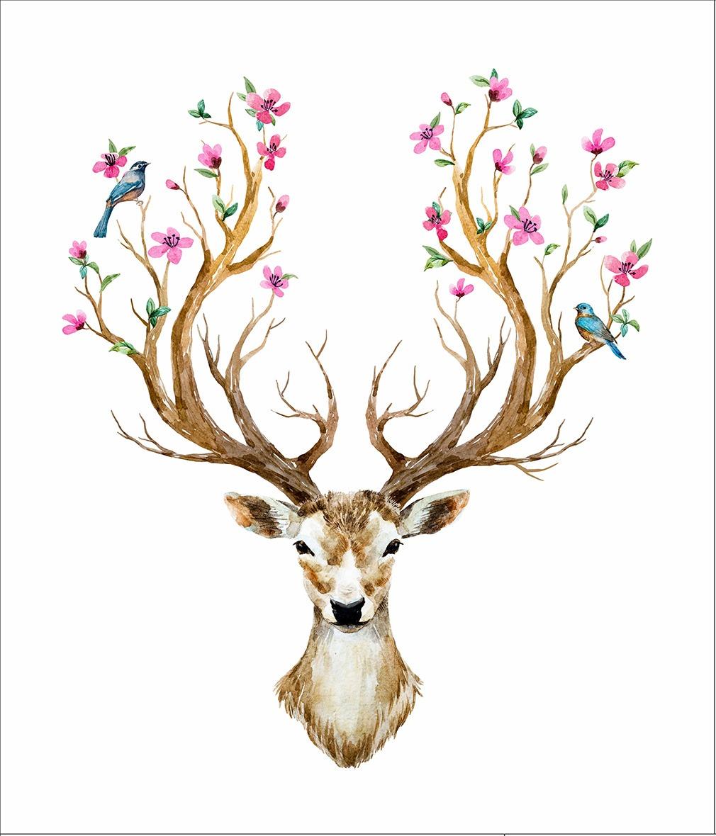 látka-bavlna-premium-panel-xl-jeleň-a-kvety